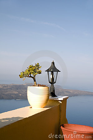 Still life scene with flower pot santorini