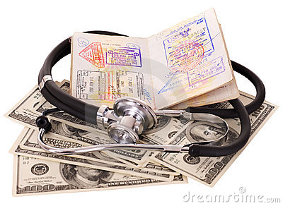 Still life with stethoscope, money and passport