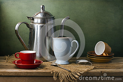Still life with teapot and cups