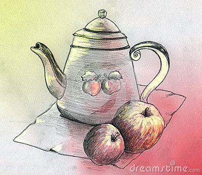 Still life with teapot and two apples