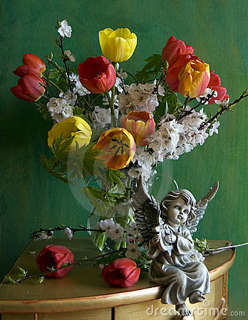 Still life with tulips and flowers apricots
