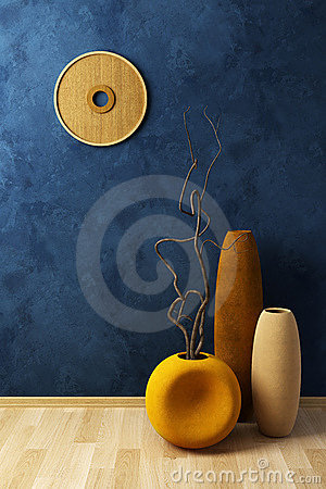Still life with vases and dryed brunch