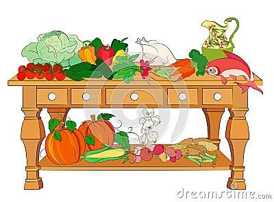 Still life with vegetables, fish & chicken