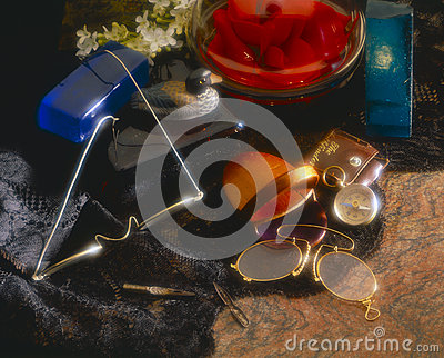 Still-life with vintage ornaments