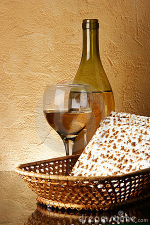Still-life with wine and matzoh