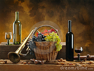 Still-life with wine and trumpet