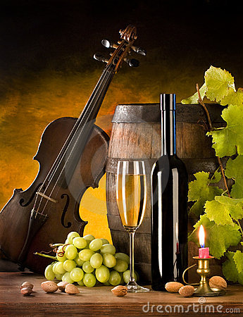 Still life with wine and violin
