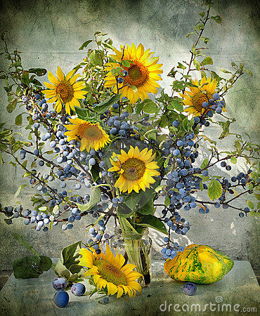 Free Still Life With A Sloe And Sunflowers Stock Image - 15513001