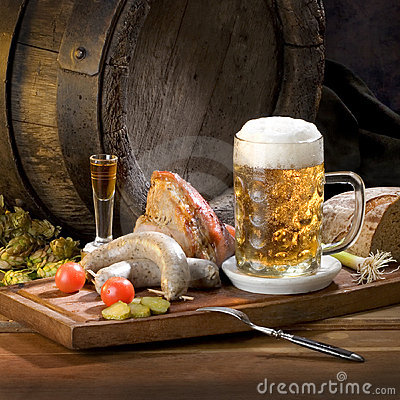 Free Still Life With Beer And Food Royalty Free Stock Photography - 12411257