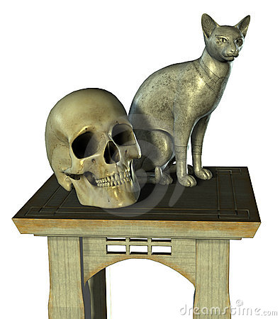 Free Still Life With Cat Statue And Skull - Includes Clipping Path Royalty Free Stock Photography - 241417