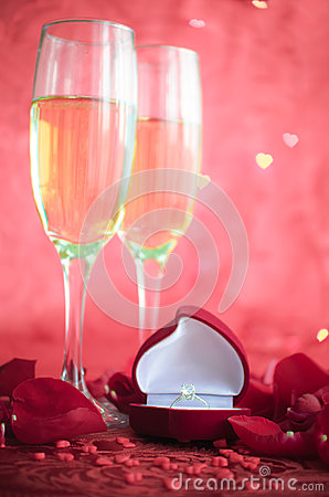 Free Still Life With Champagne, Gift Box And Red Rose Petals Stock Photography - 66317612