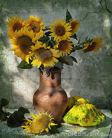 Free Still Life With Patisons And Sunflowers Stock Photography - 15513002
