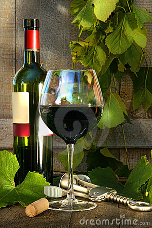 Free Still Life With Red Wine Bottle And Glass Royalty Free Stock Image - 10764836