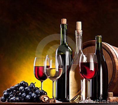 Free Still Life With Wine Bottles Stock Image - 18680671