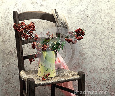 Still life with wood chair