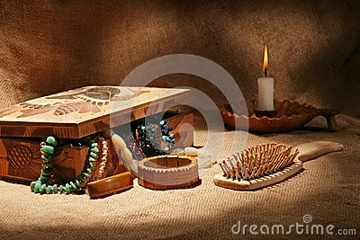 Still-life with wooden casket