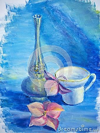 Stilleben med koppen och blomman