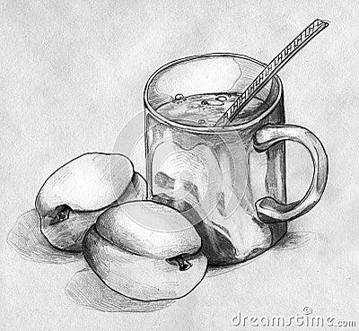 Stilleven met perziken en een mok koffie of thee
