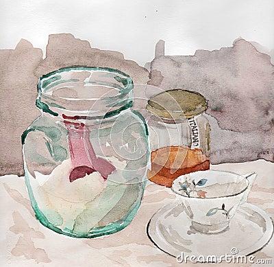 stillleben mit glas und schale stock abbildung bild 65245037. Black Bedroom Furniture Sets. Home Design Ideas