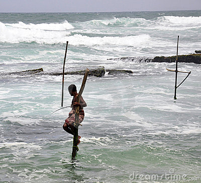 Stilt fishermen in Sri Lanka Editorial Photography