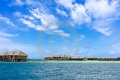Stilt holiday homes in sea