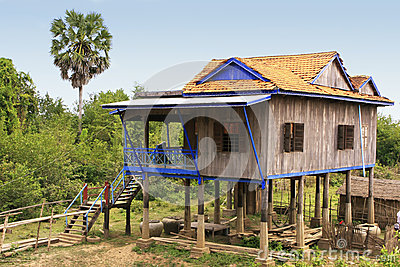 Stilt houses in a small village near Kratie, Cambodia
