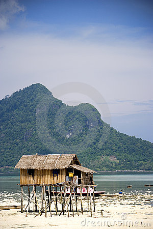 Stilt hut on tropical beach