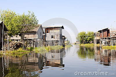 Stilted Village on Lake