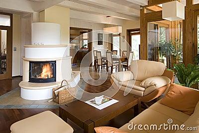 stilvolles modernes wohnzimmer mit kamin stockfotografie - bild ...