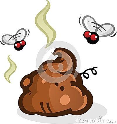 stinky poop pile with flies cartoon stock vector image