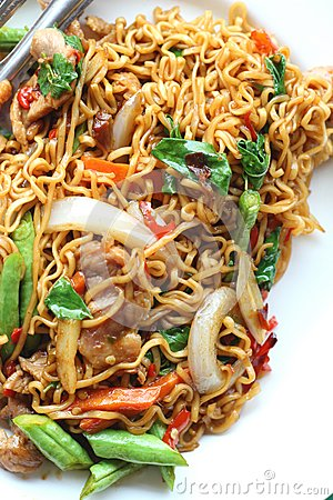 Free Stir Fried Noodle Spicy In Pork Stock Photos - 52264393