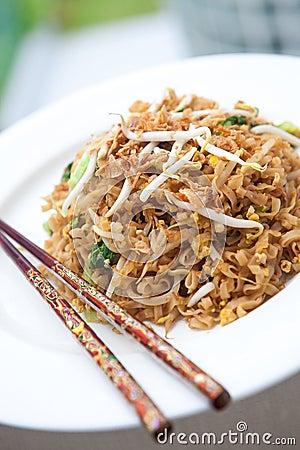 Stir fried oriental noodles with baby bok choi
