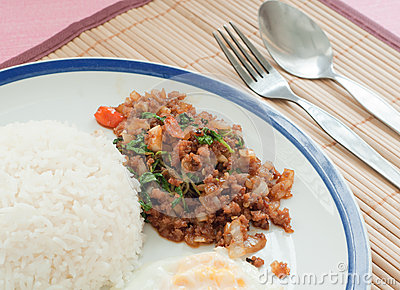 Stir-fried pork with holy basil