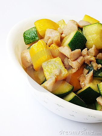 Free Stir Fried Zucchini & Chicken Stock Images - 5328924