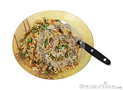 Stir Fry Rice Chicken Vegetables Serving Bowl