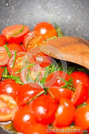Stir fry tomatoes