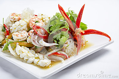 Stirred fried seafood