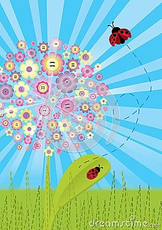 Stitch - flower with ladybugs