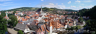 Stitched panorama of Cesky Krumlov in Czech Republ