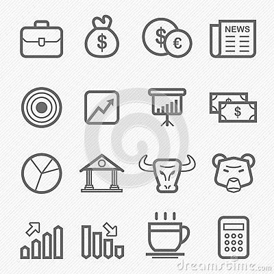Free Stock And Market Symbol Line Icon Set Stock Images - 32999184