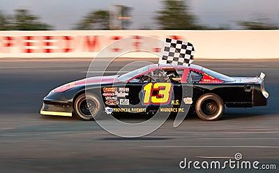 Stock car driver Greg Dowe wins race at SpeedWorld Editorial Stock Image