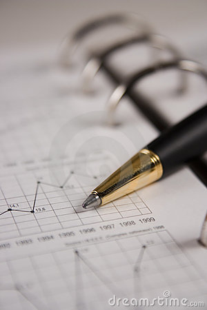 Stock chart with a pen