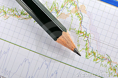 Stock chart and pencil