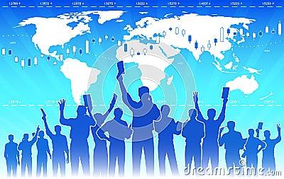 Stock exchange traders teamwork