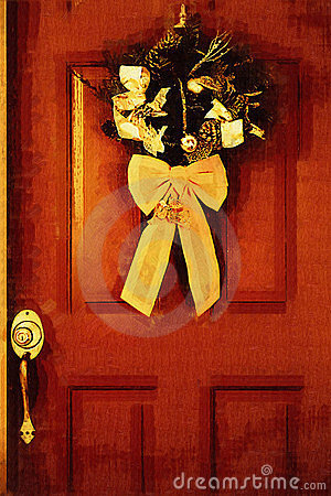 Stock illustration of Christmas Door