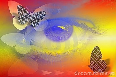 Stock Image of Abstract Binary Code and Eye as Digital Vision Concept