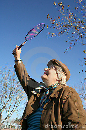 Stock image of badminton game