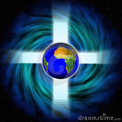 Stock image of Space Vortex with cross and earth