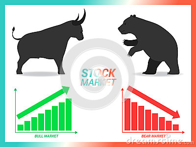 Stock market concept bull vs bear are facing and fighting on whi Vector Illustration