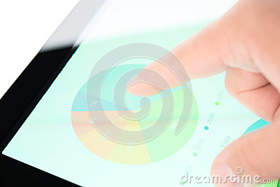 Stock market diagram on a tablet pc